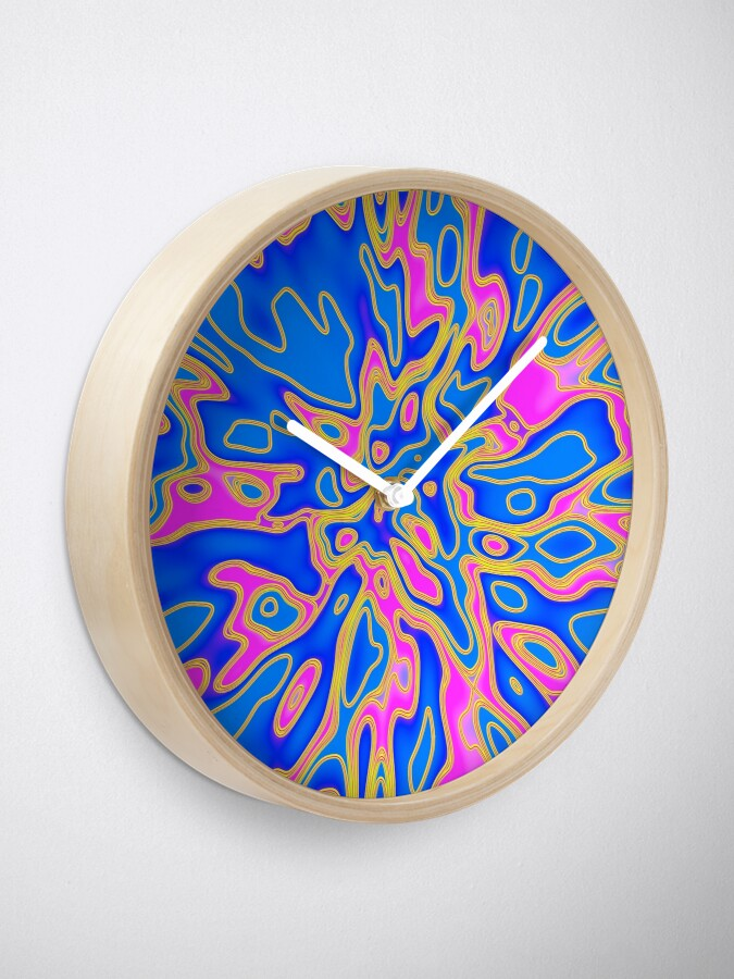 Alternate view of Little monster | Abstract random colors #17 Clock
