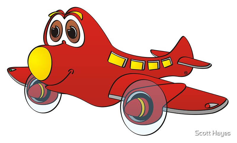 Quot Red Yellow Nose Airplane Cartoon Quot By Graphxpro Redbubble