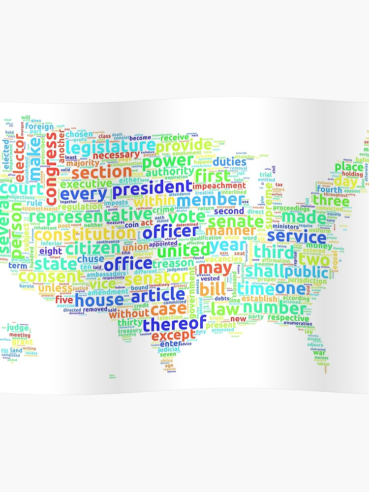 Us Constitution Word Cloud Map On White Background Poster By Ramiro - Us-cloud-map
