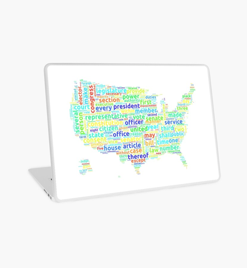US Constitution Word Cloud Map on White Background