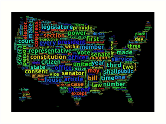 US Constitution Word Cloud Map On Black Background Art Prints By - Us cloud map