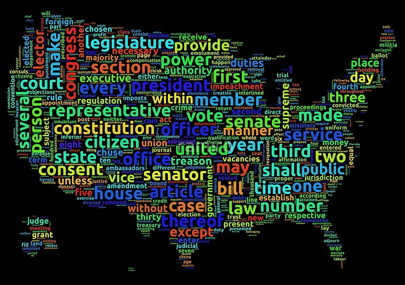 US Constitution Word Cloud Map On Black Background Posters By - Us cloud map