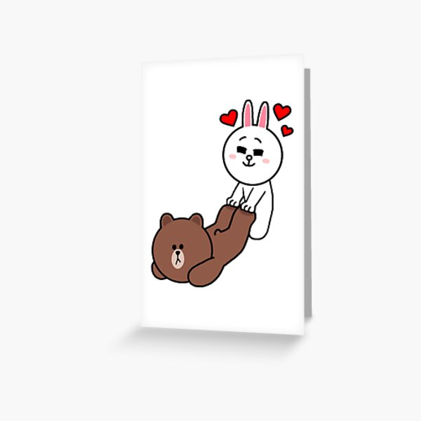 Brown bear cony bunny rabbit be my lover Greeting Card