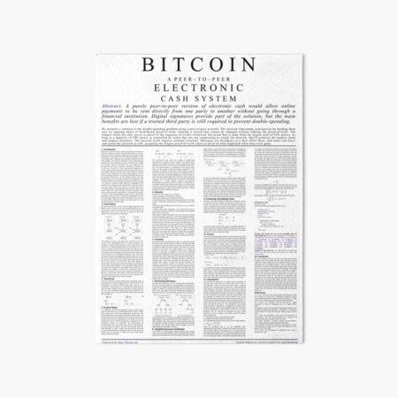 Bitcoin Whitepaper Poster Art Board Print