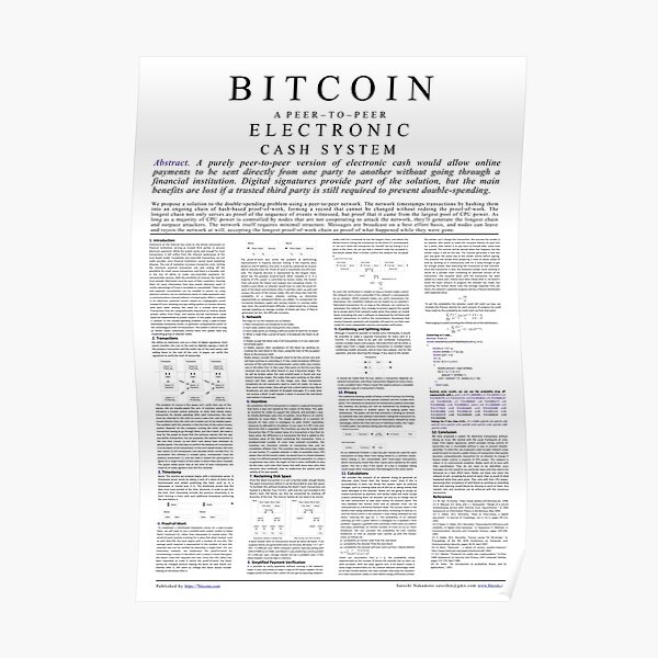 Bitcoin Whitepaper Poster Poster