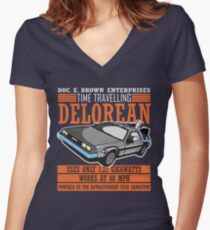 Doc E. Brown Time Travelling Delorean Women's Fitted V-Neck T-Shirt