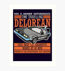 Doc E. Brown Time Travelling Delorean Art Print