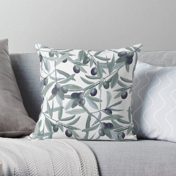 Olive branch watercolor pattern Throw Pillow