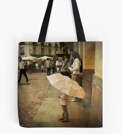 Little Girl Holding an Umbrella Tote Bag