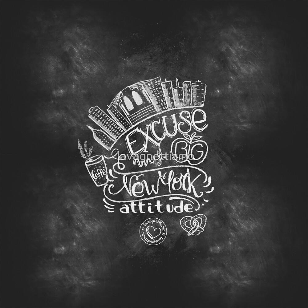 New York Attitude handmade chalk art design by lavagnettiamo