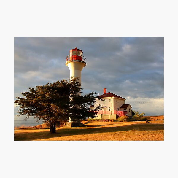 lighthouse evening break in summer rains Photographic Print