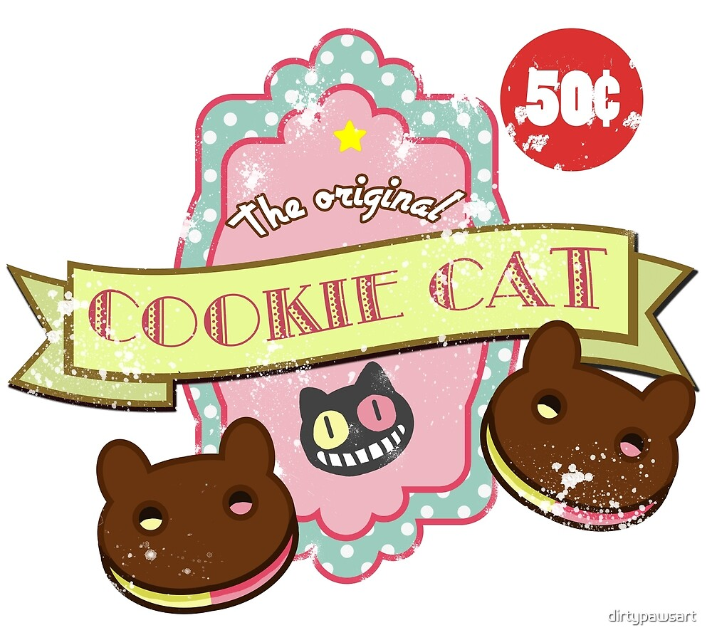 Vintage Cookie Cat by dirtypawsart