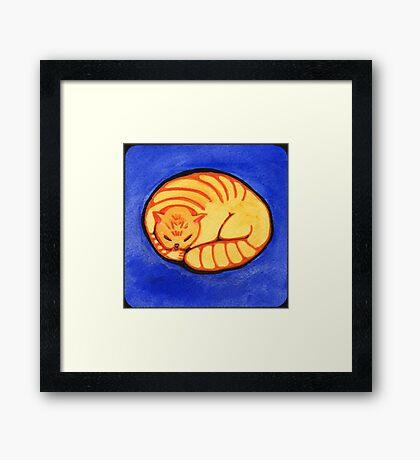 Round Golden Framed Print