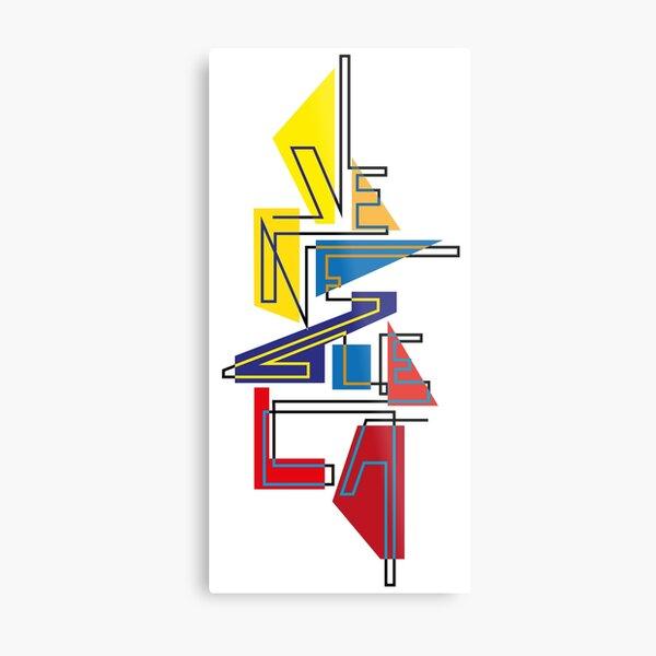 Lettering Venezuela gráfica tricolor Lámina metálica