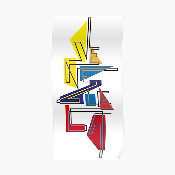 Lettering Venezuela gráfica tricolor Póster