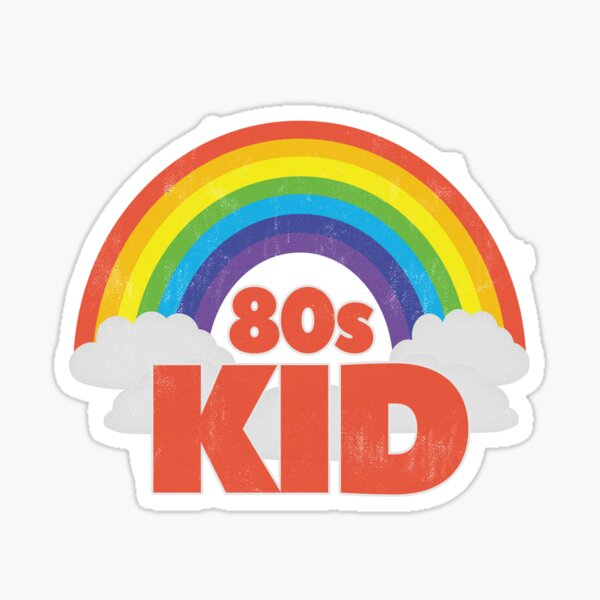 Vintage 80s Kid Distressed - 80s Rainbow  Sticker