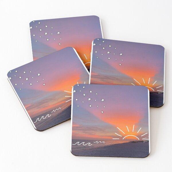 sunset doodles Coasters (Set of 4)