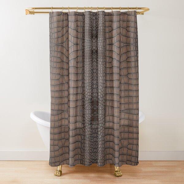 Brown Alligator Leather Skin Shower Curtain