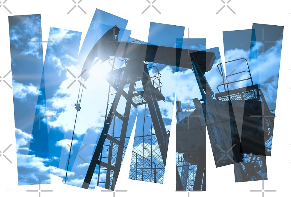 Pump jack abstract composition background. by bashta
