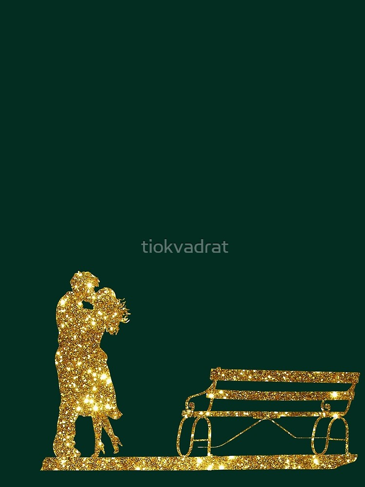 Kissing Valentines in Glitter Gold on Green. Perfect Gift for the One You Love. by tiokvadrat