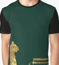 Kissing Valentines in Glitter Gold on Green. Perfect Gift for the One You Love. Graphic T-Shirt