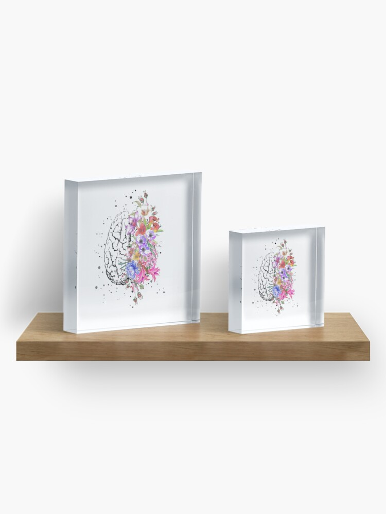Alternate view of Brain anatomy,  watercolor Brain, flowers brain, brain with Flowers Acrylic Block