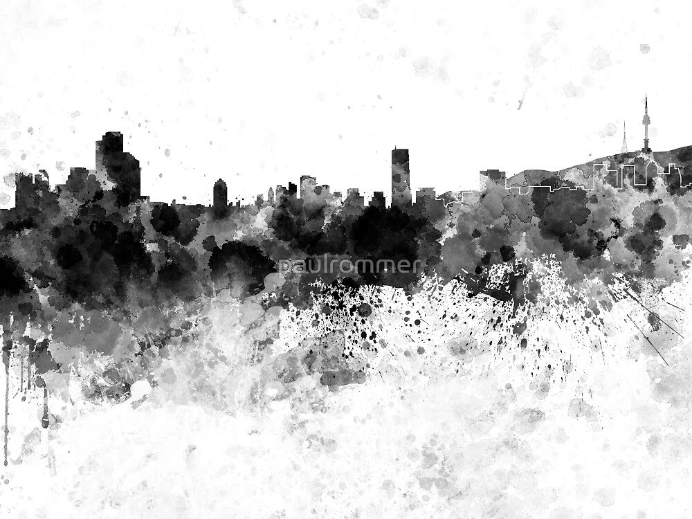 Seoul skyline in black watercolor by paulrommer