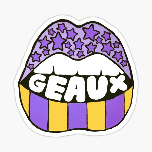 Geaux lips purple and gold lsu tigers Sticker