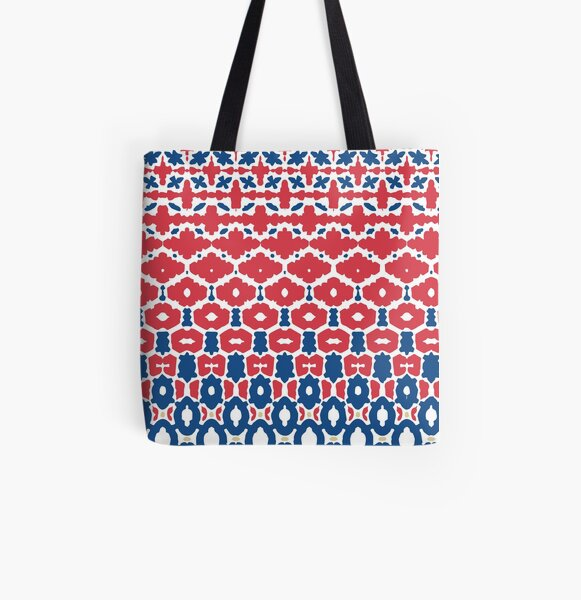 Geometric Classic Blue Red White All Over Print Tote Bag