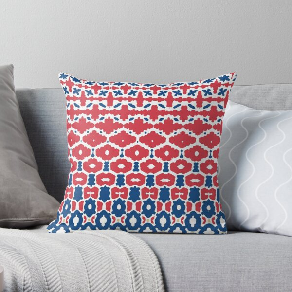 Geometric Classic Blue Red White Throw Pillow