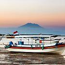 Mount Agung Watching Fishing Fleet-Bali by neverforgotten