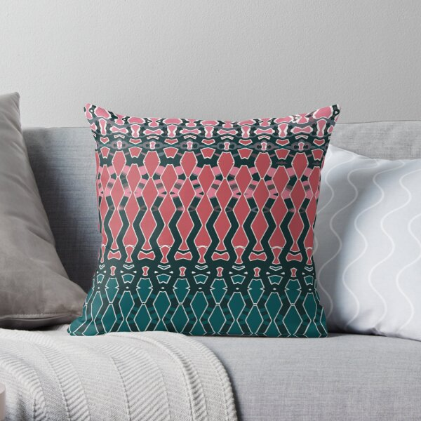 Geometric emerald green and coral Throw Pillow