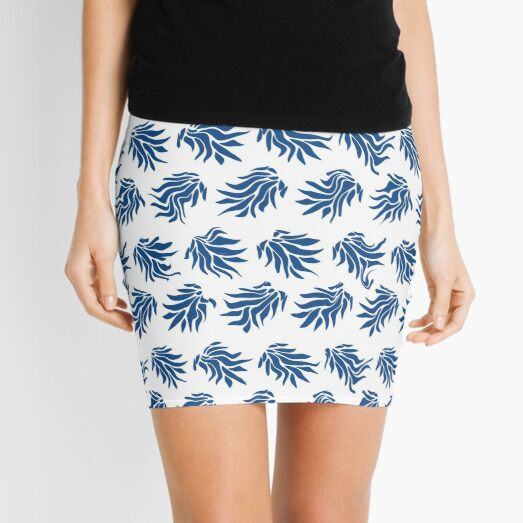 Classic Blue and White Wonky Leaves Mini Skirt