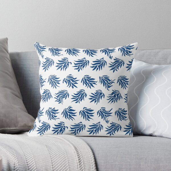 Classic Blue and White Wonky Leaves Throw Pillow