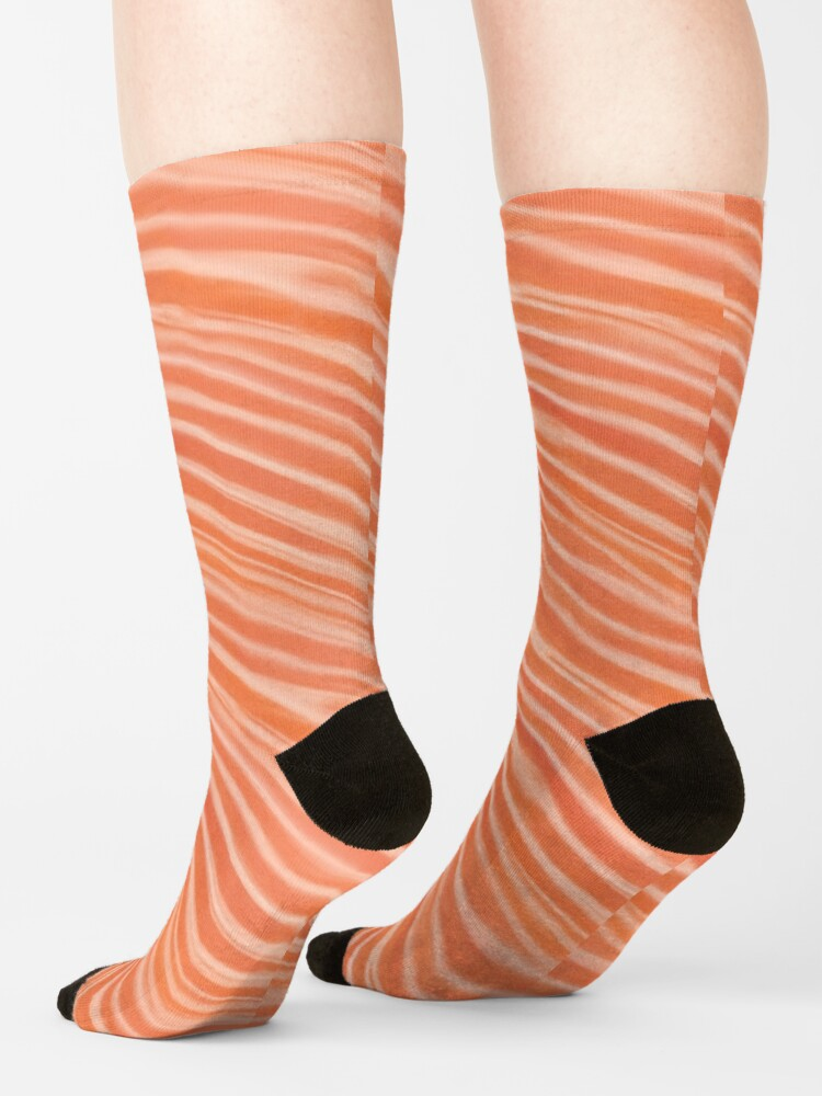 Alternate view of Raw salmon fillet pattern illustration Socks