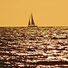 SAIL BOAT AT SUNSET ON THE NORTH SEA by RainbowArt