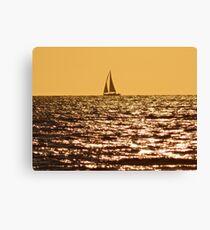 SAIL BOAT AT SUNSET ON THE NORTH SEA Canvas Print