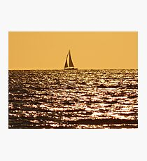SAIL BOAT AT SUNSET ON THE NORTH SEA Photographic Print