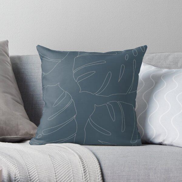 Monstera leaves greyed petrol Throw Pillow