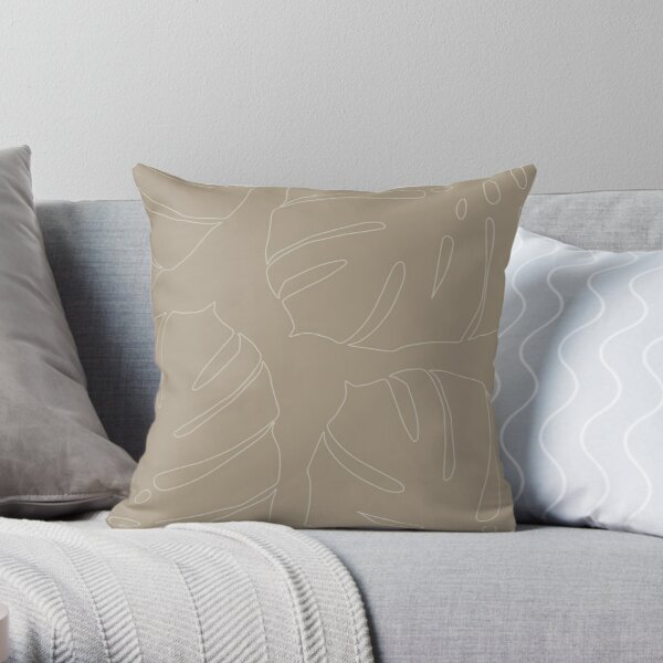Monstera leaves soft taupe Throw Pillow