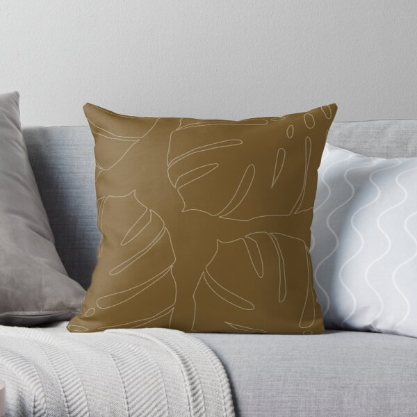 Monstera leaves honey gold Throw Pillow