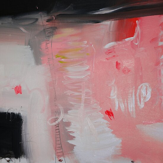 Pink painting, pink abstract, red pink paintingg by AndradaArt