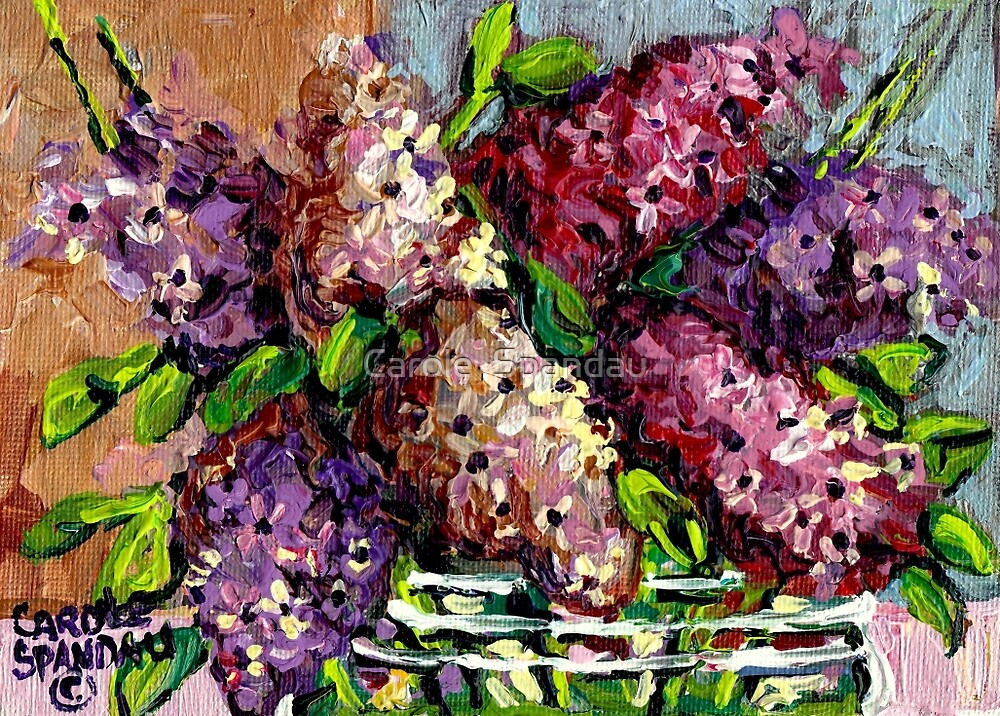 LILACS IN A GLASS VASE BEAUTIFUL FLORAL PAINTING by Carole  Spandau