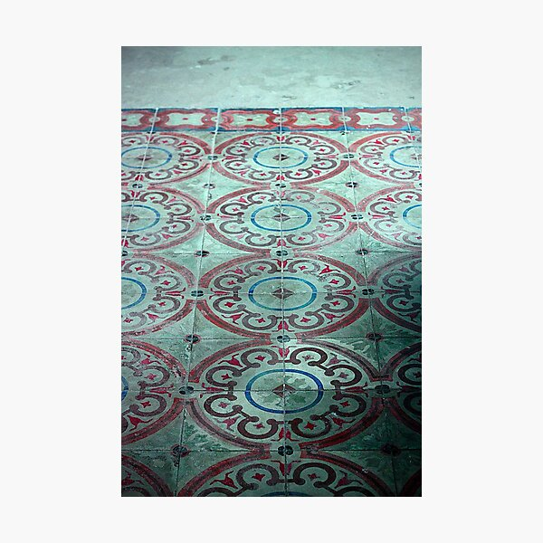 crop circle, pattern, tile, vintage, philippines, church, patina, art deco, interior, geometric, trending, most sold, popular, famous, best selling, top selling, highly recommended Photographic Print