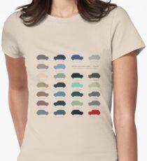 Austin Mini classic - 60's original car colours  Womens Fitted T-Shirt