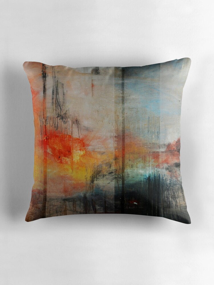 "Abstract Art Blue Orange Abstract Print "" Throw Pillows by"