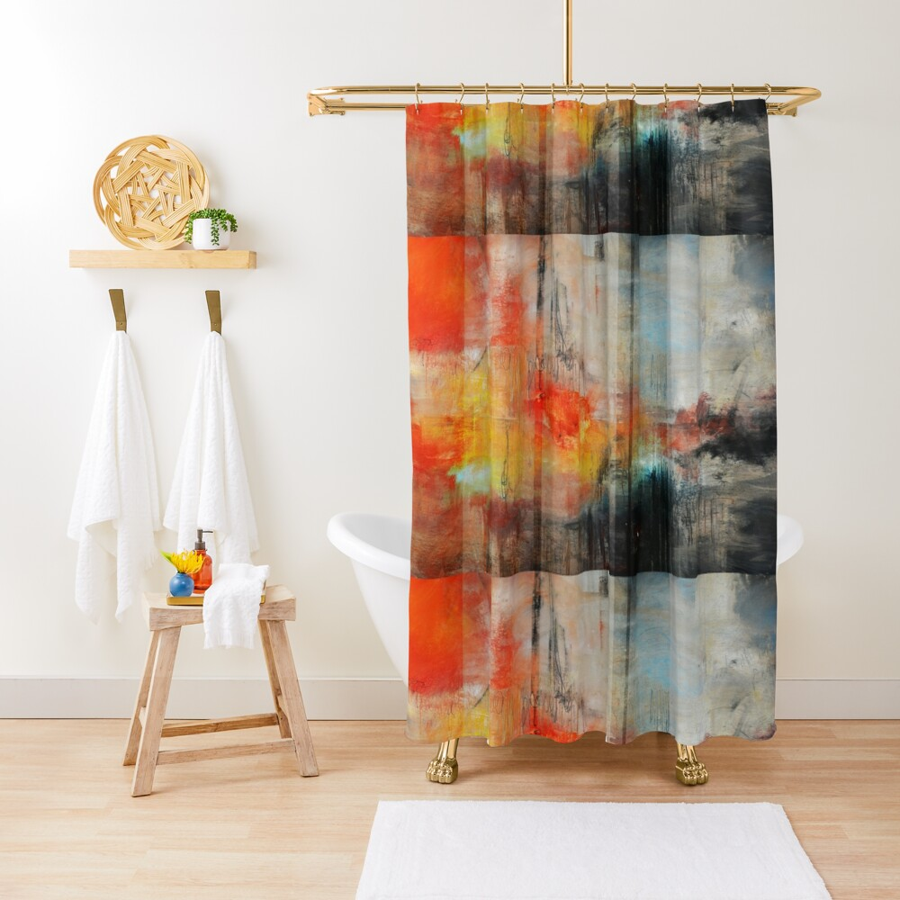 Large Abstract Art, Blue Orange Abstract Print  Shower Curtain