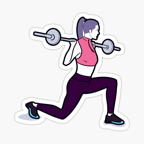 Woman doing barbell lunges Sticker