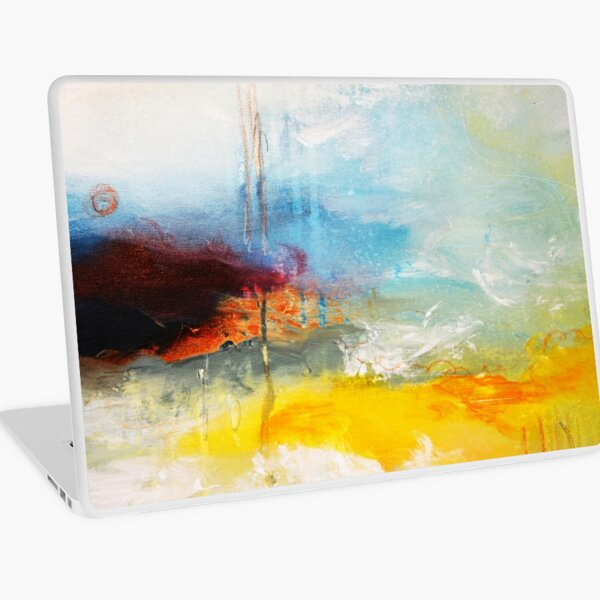 Yellow Blue Abstract Art Print Laptop Skin
