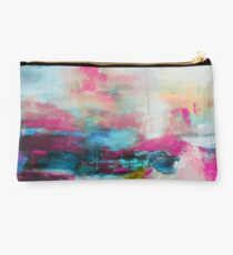 Aqua Pink Abstract Print from Original Painting  Studio Pouch